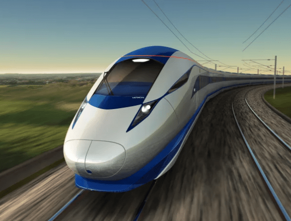 HS2 high speed train on track