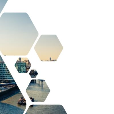 Hexagon cut out picture of London Skyline