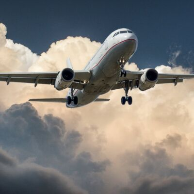 aircraft jet landing cloud