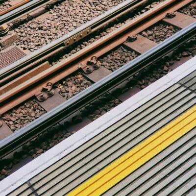 Edge of platform looking at railway tracks