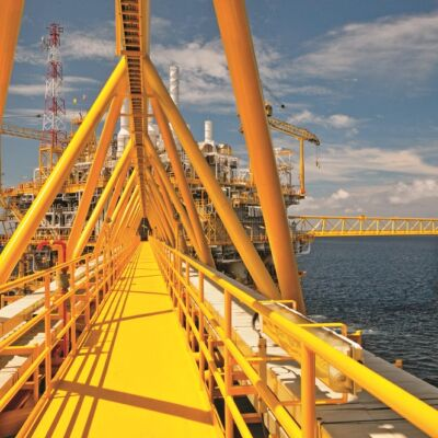 oil rig walkway in bright yellow