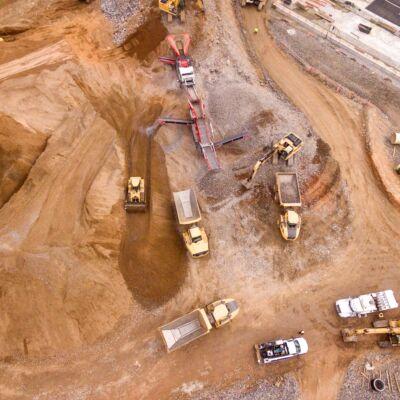 Bird eye view of coal mine