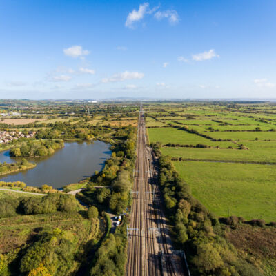 Aerial view of Railway Track in St Mellons Town in Cardiff, Wales UK