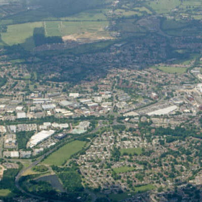 Aerial view of the Berkshire town of Bracknell