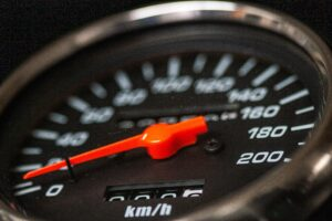 Speedometer close up view focus on dial performance management