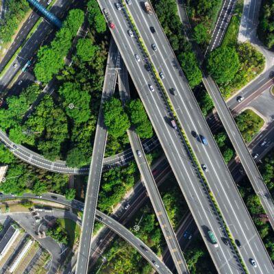 Motorway system from bird eye view
