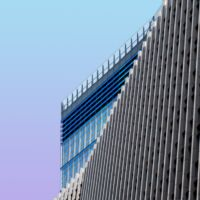 Tall building with purple blue background